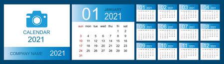 Calendar 2021, Set Desk Calendar template design with Place for Photo and Company . Week Starts on Sunday. Isolated vector illustration 向量圖像