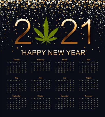 Calendar 2021. Week starts from Sunday illustration.  イラスト・ベクター素材