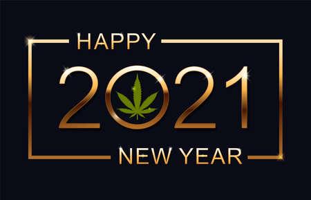 2021 Happy New Year background with marijuana leaf. Happy New Year Card. Vector illustration.  イラスト・ベクター素材
