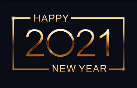 Happy new 2021 year. Elegant gold text with light. Minimalistic text.