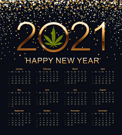 Calendar 2021. Week starts from Sunday. Vector illustration.