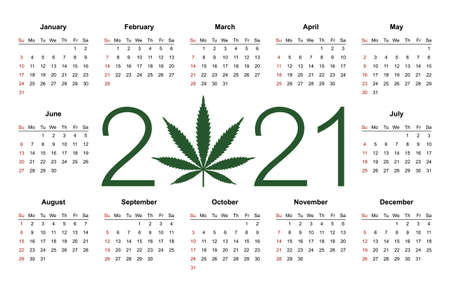 Simple editable vector calendar for year 2021. Week starts from Sunday. Isolated illustration on white background.