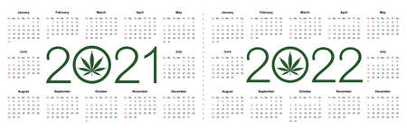 Simple editable vector calendars for year 2021 2022. Week starts from Sunday. Isolated illustration on white background.