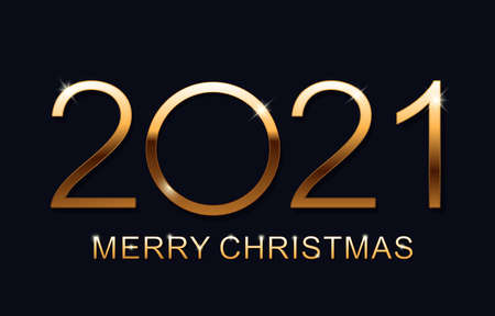 Merry Christmas and Happy New 2021 Year. Elegant gold text with light. Minimalistic text. Isolated vector illustration.