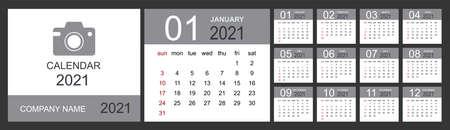 Calendar 2021. Desk calendar template. Set of 12 months, planner, week starts on sunday. Isolated vector illustration