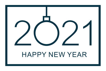 Happy new year 2021 design template. Isolated vector illustration on white background. 矢量图像