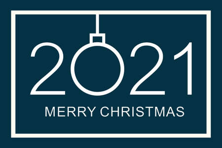 Merry Christmas design template. Merry Christmas 2021. Isolated vector illustration on blue background.