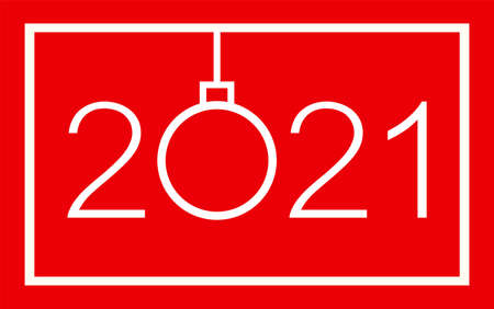 Happy new year 2021 greeting card design. Isolated vector illustration on red background.