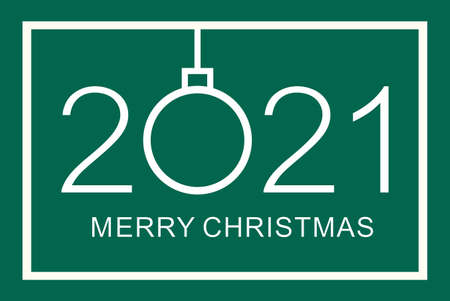 Merry Christmas design template. Merry Christmas 2021. Isolated vector illustration on green background.