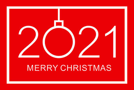 Merry Christmas design template. Merry Christmas 2021. Isolated vector illustration on red background. 矢量图像