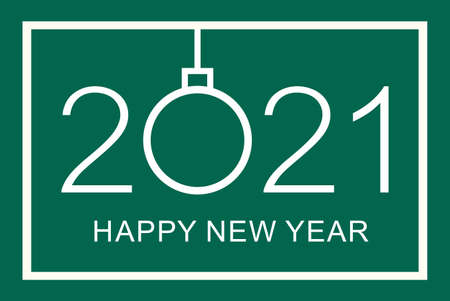Happy new year 2021 greeting card design on green background.