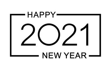 Happy new year 2021 design template. Isolated vector illustration on white background.  イラスト・ベクター素材