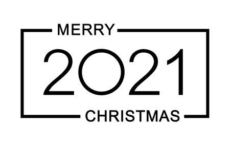 Merry Christmas and Happy New 2021 Year. Minimalistic text. Isolated vector illustration.