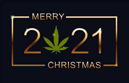 Merry Christmas 2021. Christmas greeting card with marijuana leaf. Isolated vector illustration on blue background.