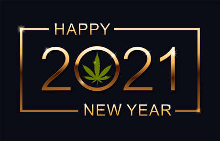 2021 Happy New Year  with marijuana leaf.  イラスト・ベクター素材