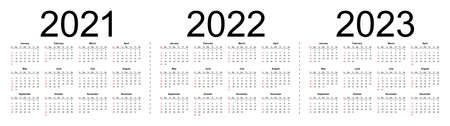 Simple editable vector calendars for year 2021 2022 2023. Week starts from Sunday. Isolated vector illustration on white background.
