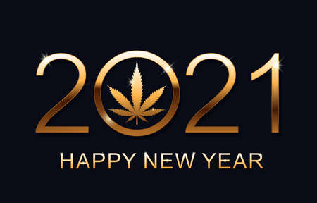 2021 Happy New Year background with marijuana leaf. Happy New Year Card. Vector illustration. 矢量图像