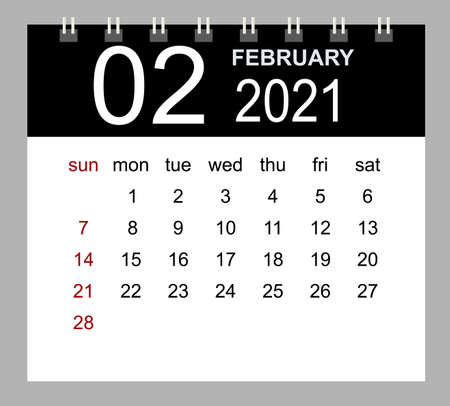 Template of calendar for February 2021. Week starts Sunday. Isolated vector illustration.