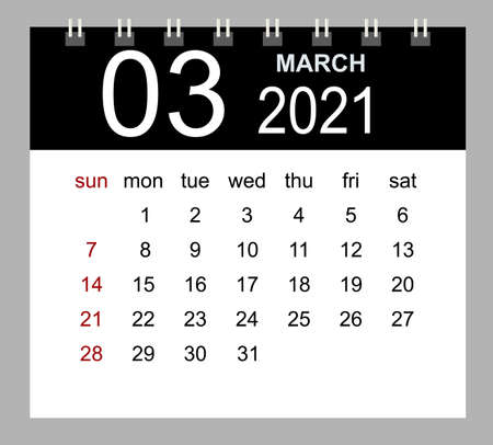Template of calendar of March 2021. 矢量图像
