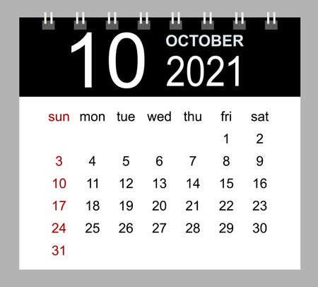 Template of calendar for October 2021. Week starts Sunday. Isolated vector illustration.