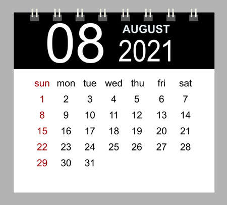 Template of calendar for August 2021. Week starts Sunday. Isolated vector illustration.