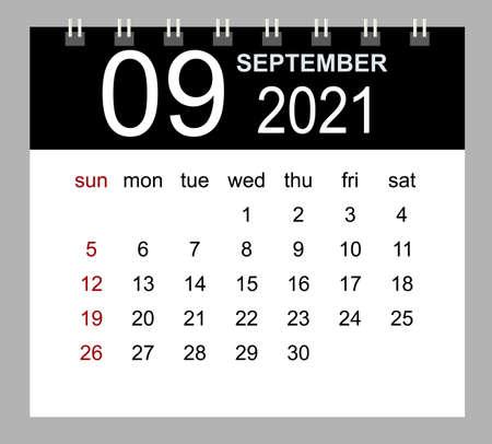 Template of calendar for September 2021. Week starts Sunday. Isolated vector illustration. 矢量图像
