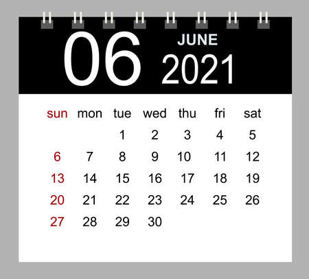 Template of calendar for June 2021. Week starts Sunday. Isolated vector illustration.