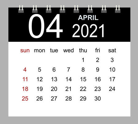 Template of calendar for April 2021. Week starts Sunday. Isolated vector illustration.