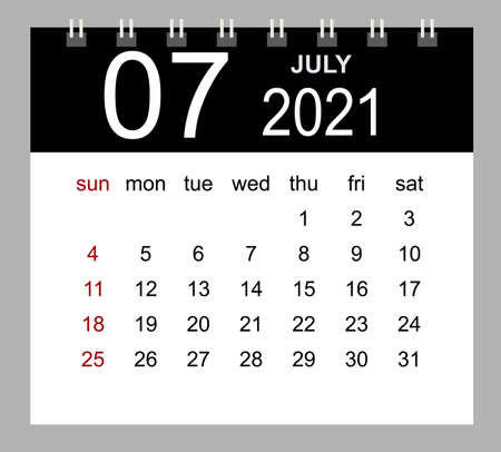 Template of calendar for July 2021. Week starts Sunday. Isolated vector illustration.