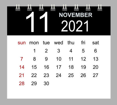 Template of calendar for November 2021. Week starts Sunday. Isolated vector illustration.
