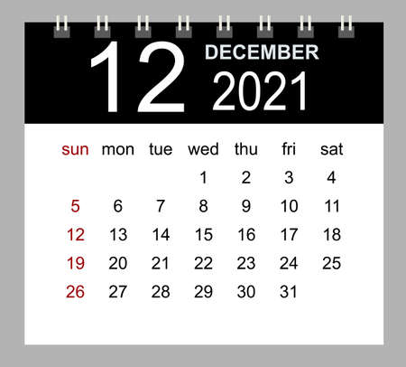 Template of calendar for December 2021. Week starts Sunday. Isolated vector illustration.