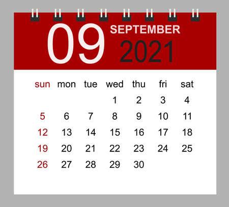 Simple desk calendar for September 2021. Week starts Sunday. Isolated vector illustration. 矢量图像