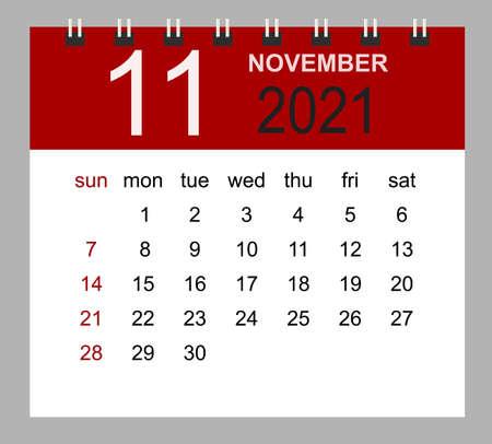 Simple desk calendar for November 2021. Week starts Sunday. Isolated vector illustration. 矢量图像