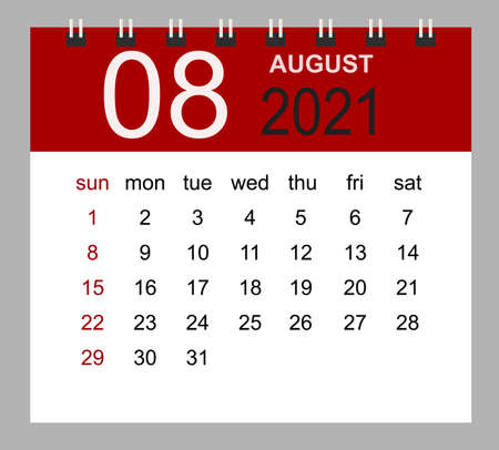 Simple desk calendar for August 2021. Week starts Sunday. Isolated vector illustration.