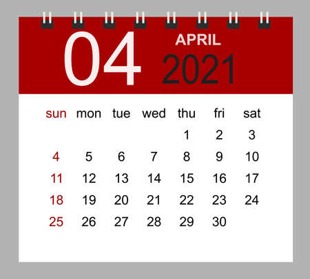 Simple desk calendar for April 2021. Week starts Sunday. Isolated vector illustration.