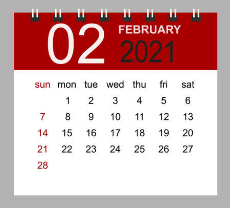Simple desk calendar for February 2021. Week starts Sunday. Isolated vector illustration.