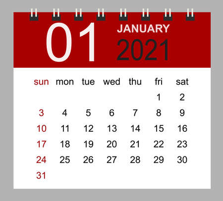 Simple desk calendar for January 2021. Week starts Sunday. Isolated vector illustration.