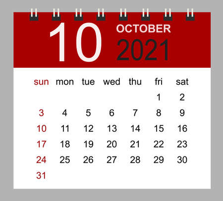 Simple desk calendar for October 2021. Week starts Sunday. Isolated vector illustration.