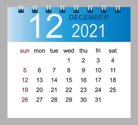 Simple desk calendar for December 2021. Week starts Sunday. Isolated vector illustration.