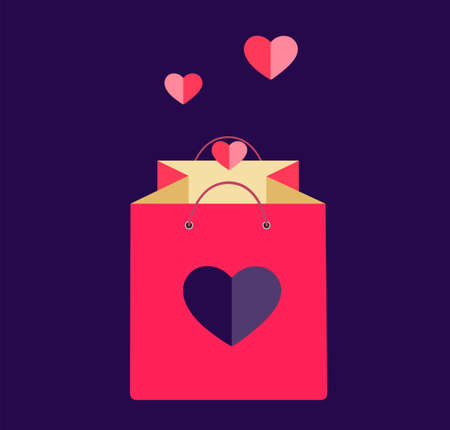 Gift bag with a heart. Decorative element for Valentine's Day. Isolated vector illustration.