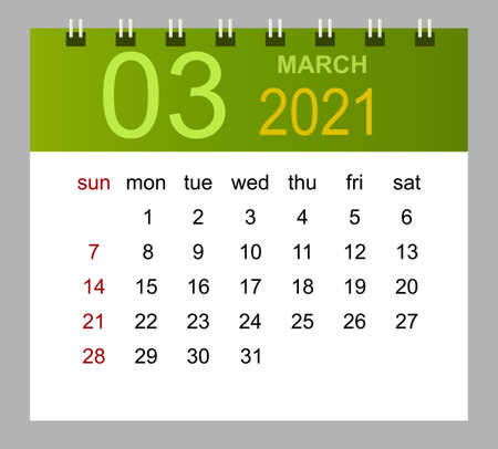 Template of calendar for March 2021. Week starts Sunday. Isolated vector illustration.