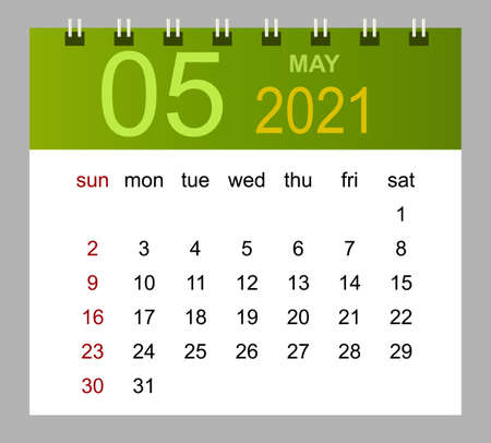 Template of calendar for May 2021. Week starts Sunday. Isolated vector illustration.