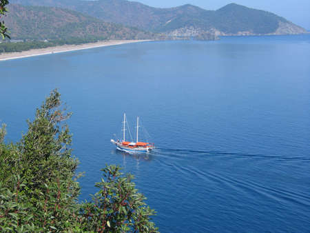 cruising: A traditional Turkish boat cruising along the Turquoise Coast Stock Photo
