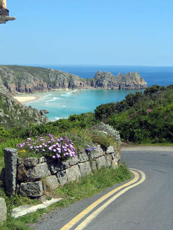 Country lane overlooking a bay in Cornwall, England,  photo