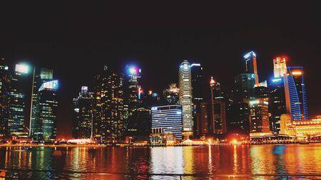 skylines: Singapore skylines at night