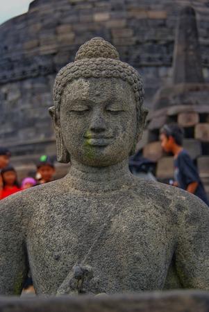 Sitting Buddha at Borobudur Temple