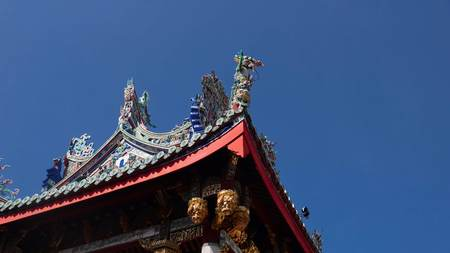 Beautiful chinese traditional clan house and temple rooftop in Penang