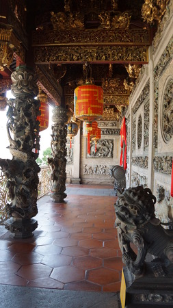 Most intricate design of carving and relief on the wall of Khoo Kongsi in Penang Editorial