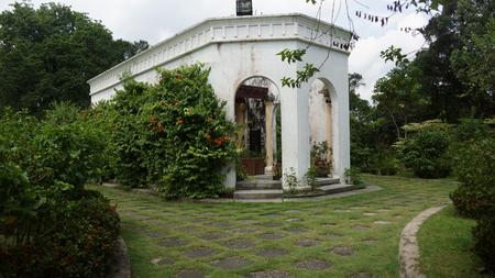 Beautiful gardens with fountain and column pillars of Kuala Lumpur