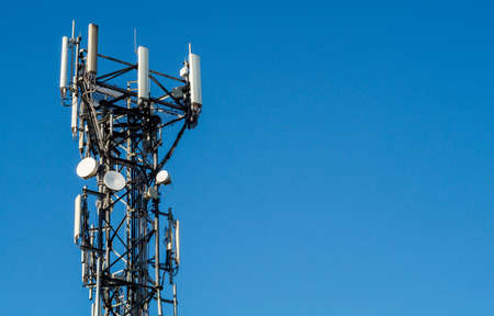mast: mobile telephone communications mast Stock Photo